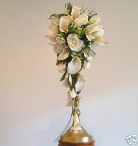 Wedding Flowers  Brides Ivory Calla Lilly amp  Rose Teardrop Bouquet Posy - <span itemprop='availableAtOrFrom'>Manchester, United Kingdom</span> - Returns will only be accepted if goods are faulty and all returns must be completed within 14 days Most purchases from business sellers are protected by the Consumer Contract Regulatio - Manchester, United Kingdom