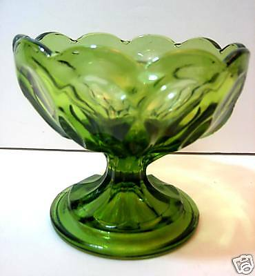 Compote Relish Dish Colonial Green Pedestal Scalloped