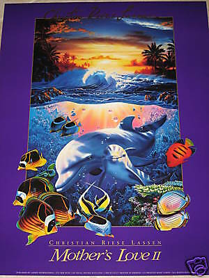 CHRISTIAN Riese LASSEN art POSTER Print BEACH Ocean Mother's LOVE II 2 Dolphin