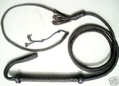 12 ft long 12 Plait BLACK TARGET New Zorro Real Leather Bullwhip Whip whips
